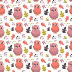 autumn pattern with owl
