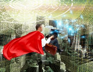 Fototapete - cyber leadership.super man in internet technologies.networking
