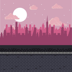 Videogame pixelated urban scenery