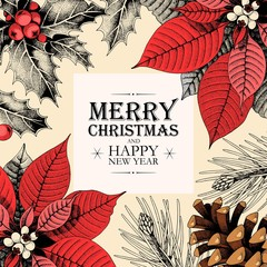 Vector christmas card with holly and pine cones