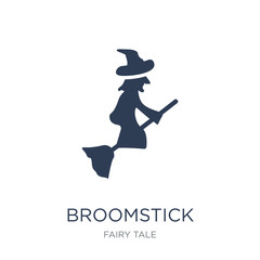 Broomstick icon. Trendy flat vector Broomstick icon on white background from Fairy Tale collection