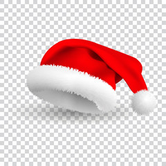 Santa Claus hat isolated on white background. Vector Realistic Illustration .