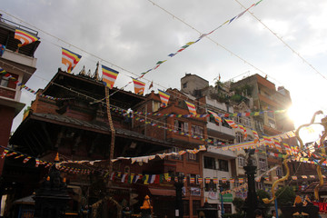 Enjoying a quite moment at one stupa close to the bustling Patan Durbar Square