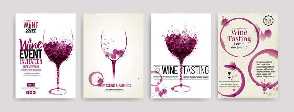 Collection of templates with wine designs. Brochures, posters, invitation cards, promotion banners, menus. Wine stains, drops. illustrations of wine glasses.