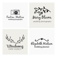 Set of hand drawn cute, stylish and simple premade logo designs for business and stationery. Collection of vector icons and illustrations fo photography, wedding and event agency