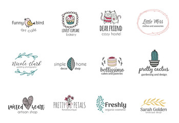 Set of hand drawn cute, stlish and simple premade logo designs for business and stationery. Collection of vector icons and illustrations