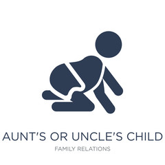 aunt's or uncle's child icon. Trendy flat vector aunt's or uncle's child icon on white background from family relations collection