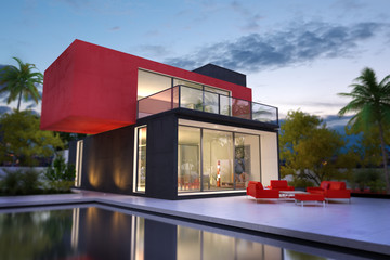Red and black villa with pool