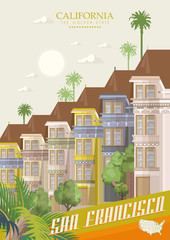 Colourful painted Victorian houses of the Haight Ashbury district in San Francisco. Vector travel poster with California landmarks.