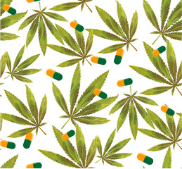 Marijuana leaves and silhouette seamless pattern.