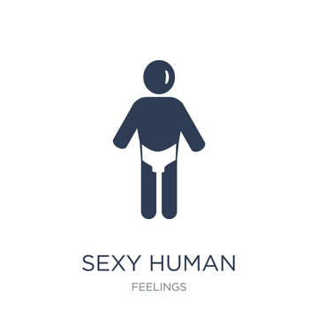 sexy human icon. Trendy flat vector sexy human icon on white background from Feelings collection