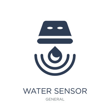 water sensor icon. Trendy flat vector water sensor icon on white background from General collection