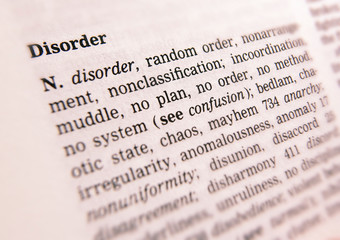 THESAURUS PAGE SHOWING DEFINITION OF WORD DISORDER