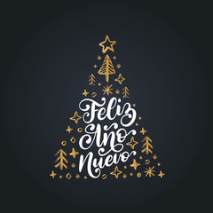 Feliz Ano Nuevo, handwritten phrase, translated from Spanish Happy New Year. Vector Christmas spruce illustration.