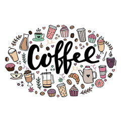 Hand drawn poster about coffee. Hand written lettering design illustration