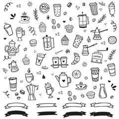 Hand drawn coffee clipart collection. Sketch style vector illustration.Outline contour drawing