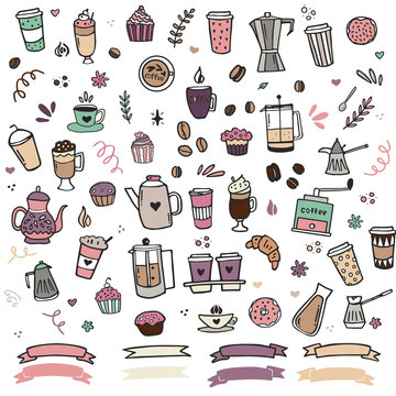 Hand drawn coffee clipart collection for logos, baranding and decorating. Sketch style vector illustration.