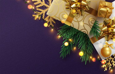Christmas banner, Xmas sparkling lights garland with gifts box and golden tinsel. Vector posters, greeting cards, headers, website.