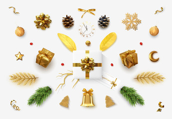 Set realistic Christmas objects for your design isolated on white background. Elements gift box, lush bows, pine branches, pine cone, decorative snowflake, xmas ball and confetti, bells, and old watch