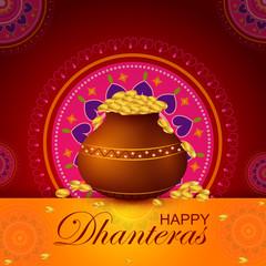 Inidan holiday of Happy Dhanteras during Diwali season for prosperity