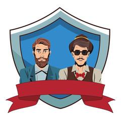Pop art hipster men cartoon