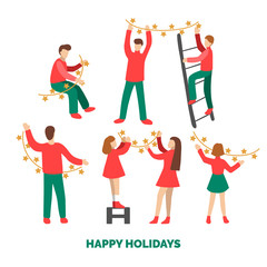 Flat infographics of people decorating by fairy lights. Christmas illustration in minimalist style.