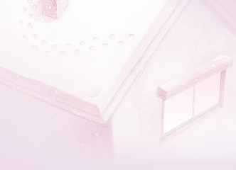 Painting of pink fairy tale house background in winter