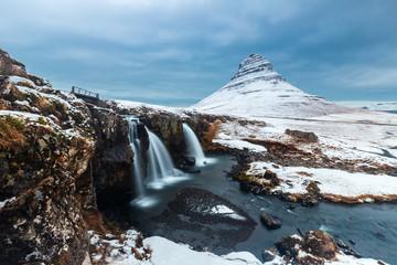 Kirkjufell mountain in winter season , Iceland