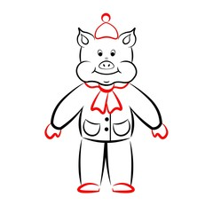 Cheerful pig in the circuit.