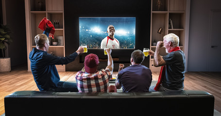 Group of fans are watching a soccer moment on the TV and celebrating a goal, sitting on the couch in the living room.