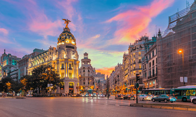 Stores photo Madrid Madrid city skyline gran via street twilight , Spain