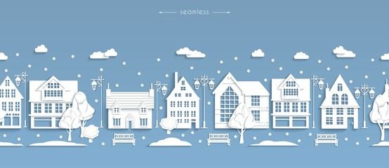 Seamless winter street, white paper buildings, Scandinavian style, vector
