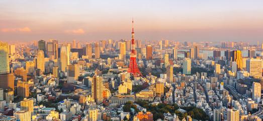 Tokyo city skyline at sunset , Japan Fototapete