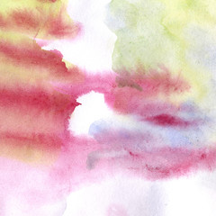 Watercolor blot with drip and stains, hand-drawn gradient of various colors - purple, blue and green