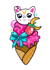 Sparkling kawaii ice cream with cat face. Hand drawn colored vector illustration