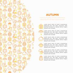 Autumn concept with thin line icons: maple, mushrooms, oak leaves, apple, pumpkin, umbrella, rain, candles, acorn, rubber boots, raincoat, pinecone, squirrel. Vector illustration, print media template