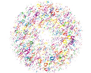 Festival pattern with color round glitter, confetti, serpentine. Bright background  for party invites, wedding, cards