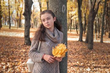 beautiful schoolgirl walks in the autumn park.