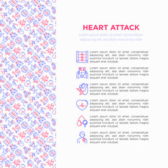Heart attack symptomps concept wiht thin line icons: dizziness, dyspnea, cardiogram, panic attack, weakness, acute pain, cholesterol level, nausea, diabetes. Vector illustration, print media template.