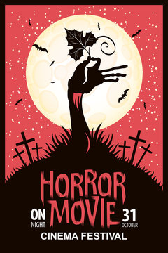 Vector poster for a festival of horror movie with a creepy zombie hand and a pumpkin leaf on a cemetery on a moonlit night. Scary cinema. Can be used for ad, banner, flyer, web design