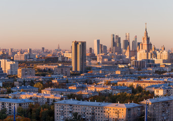 Moscow, Russia, view of the business center, Moscow University, and old houses, at sunset, autumn
