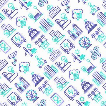 Smart city seamless pattern with thin line icons: green energy, intelligent urbanism, efficient mobility, zero emission, electric transport, balanced traffic, CCTV, telemedicine. Vector illustration.