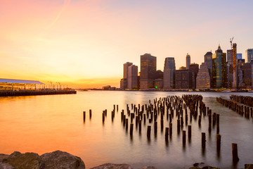 Wall Mural - View of the city of New York and the bay. New York.   Long light exposure.