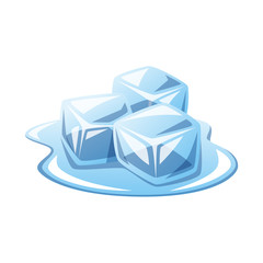 Ice cubes melting vector isolated illustration