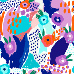 Wall Mural - Colorful abstract shapes and flowers. Vector seamless pattern.