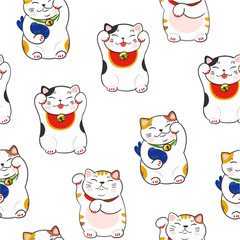 Cute maneki neko. Hand drawn colored vector seamless pattern