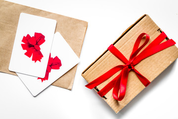 concept of gift cards on white background top view
