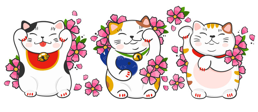 Three various maneki neko and sakura flowers. Hand drawn colored vector set. All elements are isolated