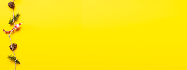 xmas yellow background with gifts and copyspace, overhead view