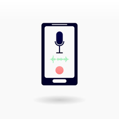 Smartphone icon. Voice recognition on mobile device concept. Microphone on screen with wave silhouette and red button for record or listening
